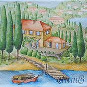 Материалы для творчества handmade. Livemaster - original item 10pcs napkins for decoupage South city by the sea in Sicily. Handmade.