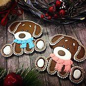 """Сувениры и подарки ручной работы. Ярмарка Мастеров - ручная работа Пряник """"Щенок в шарфике """" символ нового года. Handmade."""