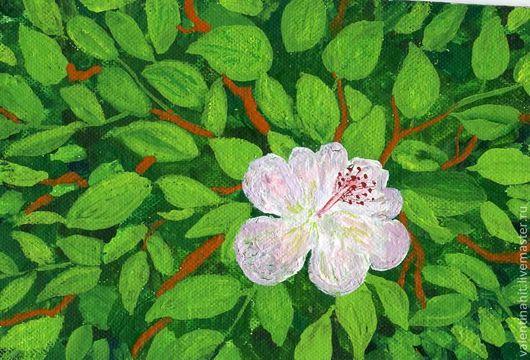 """Картины цветов ручной работы. Ярмарка Мастеров - ручная работа. Купить картина """"Цветок Ангела"""" (зеленый, белый). Handmade. Картина"""