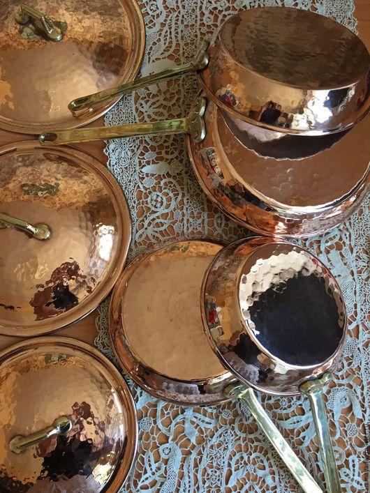 Винтажная посуда. Ярмарка Мастеров - ручная работа. Купить Медные сковородки с крышками. Handmade. Медь, латунь