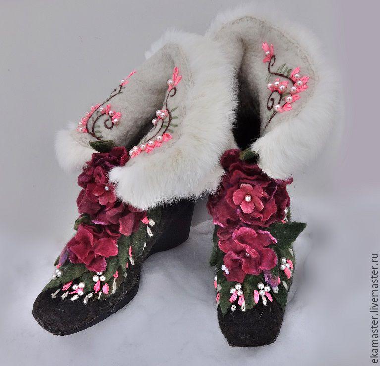 """Обувь ручной работы. Ярмарка Мастеров - ручная работа. Купить Сапожки валяные """"Маргарита"""". Handmade. Валенки, валенки для улицы"""