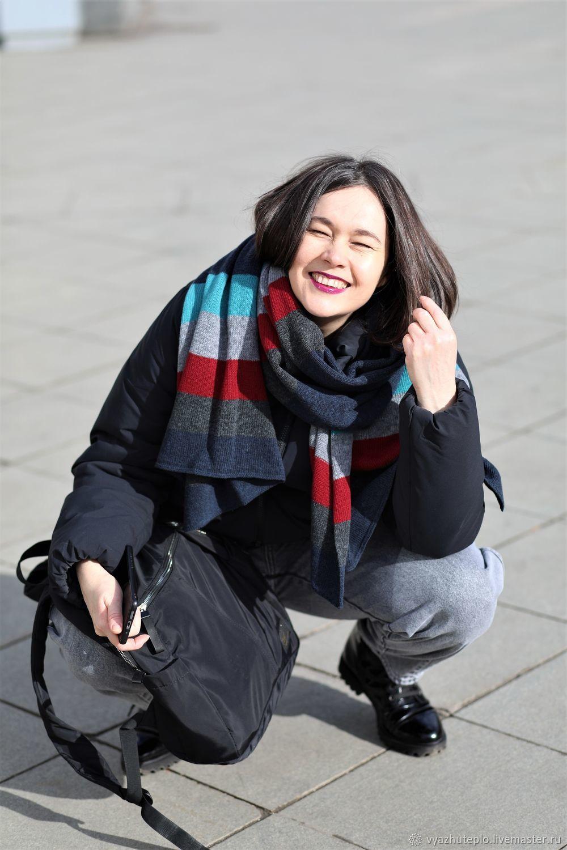 Шарф вязаный Улыбка синий в полоску, Шарфы, Москва,  Фото №1