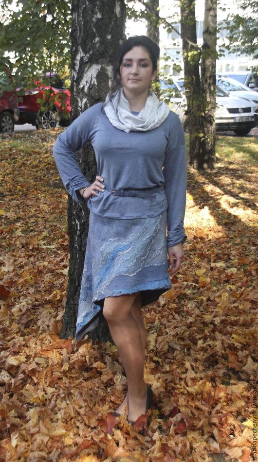 """Юбки ручной работы. Ярмарка Мастеров - ручная работа. Купить юбка  валяная """" серебряное мерцание"""".. Handmade."""