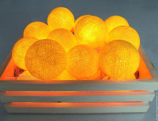 """Освещение ручной работы. Ярмарка Мастеров - ручная работа. Купить Светящаяся гирлянда из фонариков """"Ярко-желтая"""", шарики, хлопок. Handmade."""