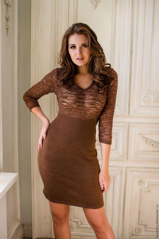 """Платья ручной работы. Ярмарка Мастеров - ручная работа. Купить Платье """"Горячий шоколад"""". Handmade. Коричневый, платье на выход, полушерсть"""