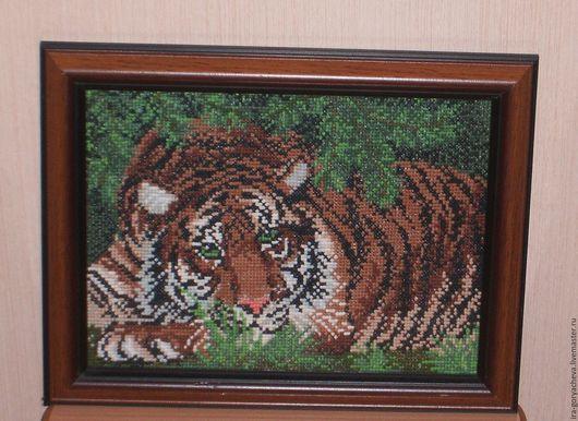 Животные ручной работы. Ярмарка Мастеров - ручная работа. Купить Тигр. Handmade. Комбинированный, тирг, Вышивка крестом, подарок