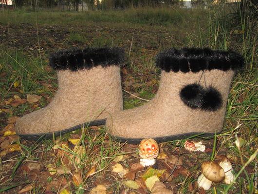 """Обувь ручной работы. Ярмарка Мастеров - ручная работа. Купить Валенки домашние """"Теплый сентябрь"""" .. Handmade. Бежевый, обувь для дома"""