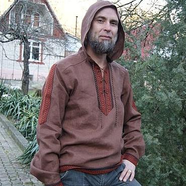Одежда ручной работы. Ярмарка Мастеров - ручная работа Рубашка со шнуровкой и капюшоном Кедринка. Лен. Handmade.