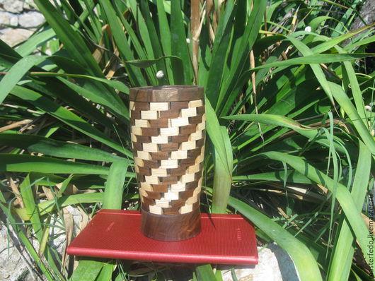 Вазы ручной работы. Ярмарка Мастеров - ручная работа. Купить Деревянная ваза для цветов Мозаика. Handmade. Разноцветный, ясень, сухоцветы