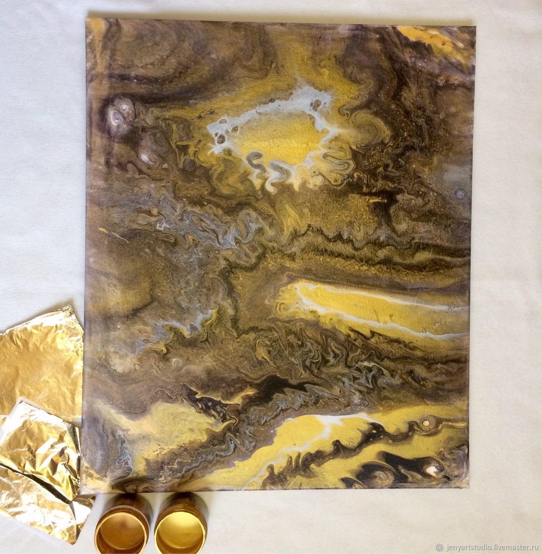 Интерьерная картина «Слияние» абстракция флюид арт золотой цвет