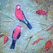 """Картины и панно ручной работы. Ярмарка Мастеров - ручная работа """"Птицы на ветке"""" Зимний пейзаж Картина маслом. Handmade."""