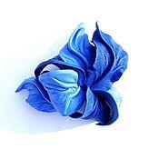 """Украшения ручной работы. Ярмарка Мастеров - ручная работа Заколка цветок автомат """"Небесная Лазурь"""" небесно голубая васильковая. Handmade."""