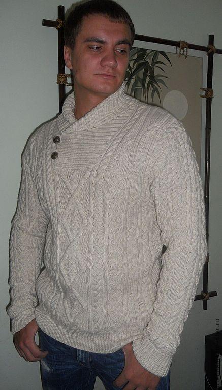 """Для мужчин, ручной работы. Ярмарка Мастеров - ручная работа. Купить Джемпер """"Скандинавия"""". Handmade. Белый, мужской теплый джемпер"""