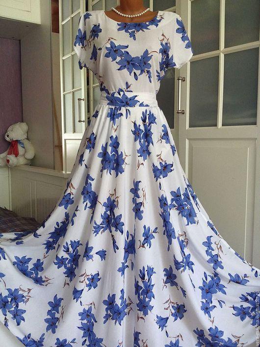 Платья ручной работы. Ярмарка Мастеров - ручная работа. Купить Штапельное платье в пол Колокольчики 2. Handmade. Белый