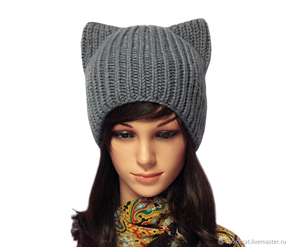 Hat with ears Cat ladies knitted elastic band, Caps, Orenburg,  Фото №1