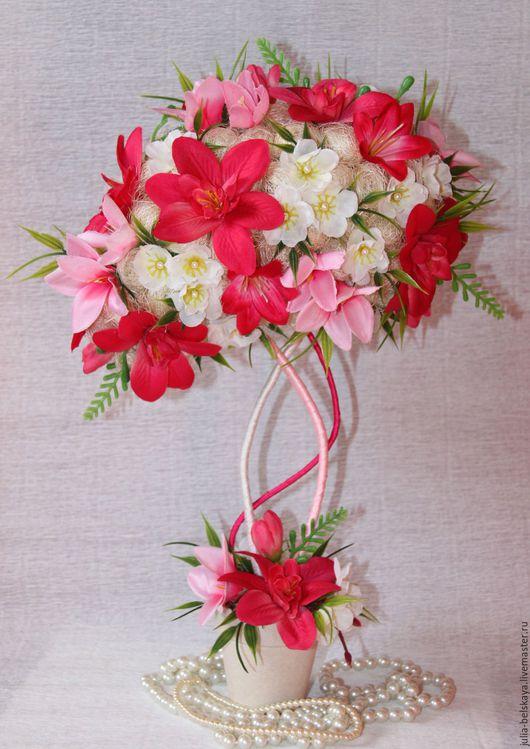 Яркий топиарий `Дикая орхидея` из сизаля и текстильных цветов нестандартной кроны. Ручная работа. Сделано с любовью! Юлия Бельская