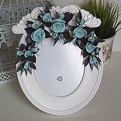 Сувениры и подарки handmade. Livemaster - original item Frame for photo with roses turquoise. Handmade.