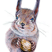 Картины ручной работы. Ярмарка Мастеров - ручная работа Белка с орешком. Handmade.