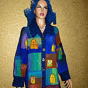 """Одежда ручной работы. Ярмарка Мастеров - ручная работа Жакет """"ОКНА"""" - пряжа Эйсаку Норо. Handmade."""