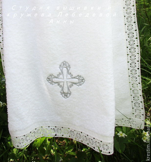 Towel for baptism 140/70 silver cross, Baptism towel, Moscow,  Фото №1