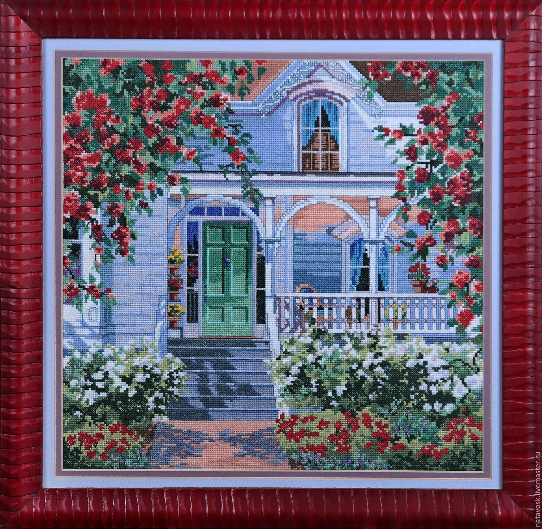 Cross stitch red rose cottage shop online on livemaster
