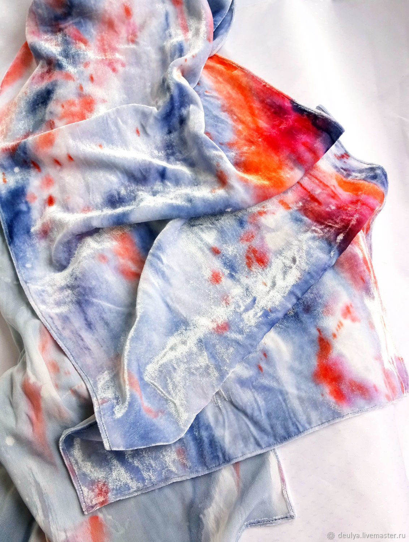 Batik, silk velvet scarves 'Light' and ' Blue», Scarves, Moscow,  Фото №1