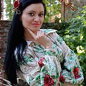 """Одежда ручной работы. Ярмарка Мастеров - ручная работа льняная вышиванка""""Крем и розы """"вышивка авторская ручная. Handmade."""