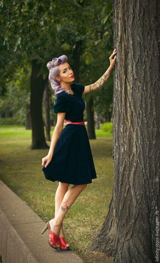 Платья ручной работы. Ярмарка Мастеров - ручная работа. Купить Платье в стиле пин-ап. Handmade. Тёмно-синий