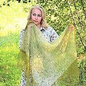 Аксессуары handmade. Livemaster - original item Openwork down shawl-gossamer with sequins khaki color. Handmade.
