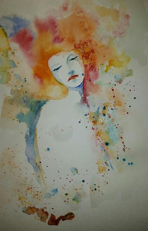 """Абстракция ручной работы. Ярмарка Мастеров - ручная работа. Купить Акварель """"Осень"""". Handmade. Разноцветный, акварель, акварельная картина"""