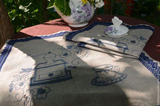 Кухня ручной работы. Ярмарка Мастеров - ручная работа. Купить Льняные салфетки чайно-кофейные. Handmade. Серый, льняные салфетки