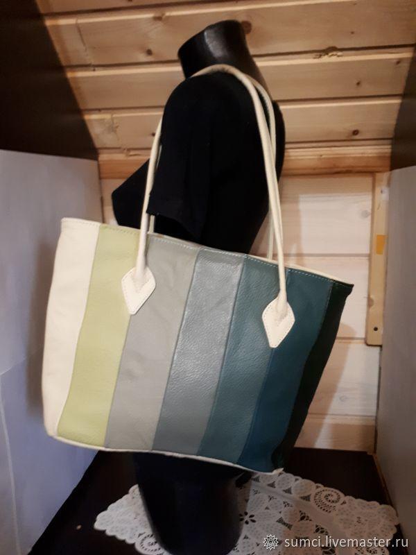 Сумка натуральная кожа в стиле пэчворк, Классическая сумка, Звенигород,  Фото №1