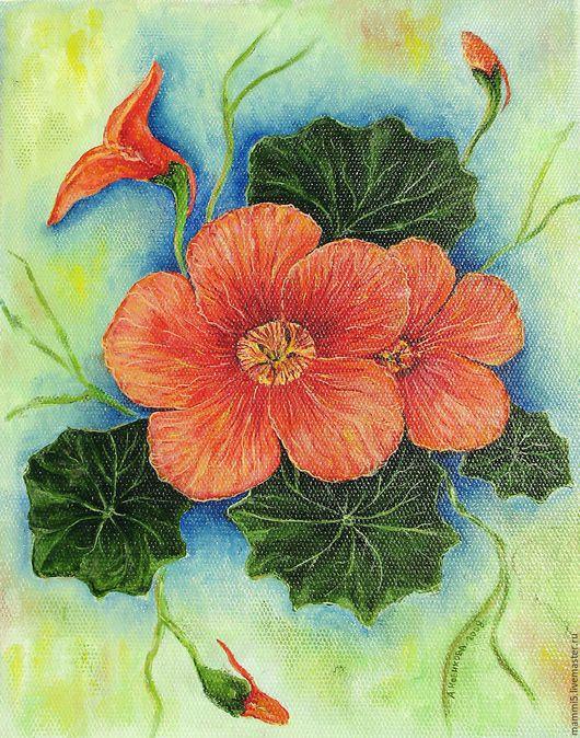 Картины цветов ручной работы. Ярмарка Мастеров - ручная работа. Купить Настурция. Handmade. Цветок, лето, масляная живопись, масло