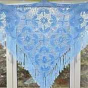 Аксессуары handmade. Livemaster - original item Shawl knitted Marvelous 210x150x150 blue crochet fringed #779. Handmade.