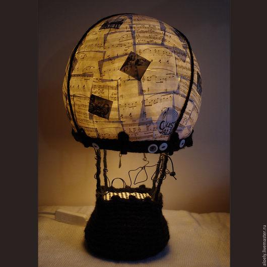 """Освещение ручной работы. Ярмарка Мастеров - ручная работа. Купить Настольный светильник-воздушный шар - """"Джаз"""". Handmade. Чёрно-белый"""