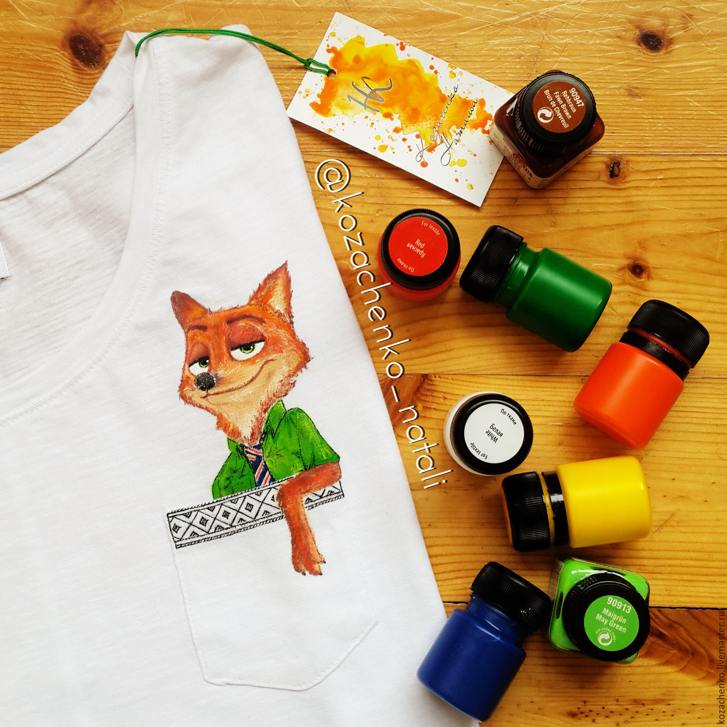T-shirt with hand painted 'Fox cartoon Zeropolis', T-shirts, Kaliningrad,  Фото №1