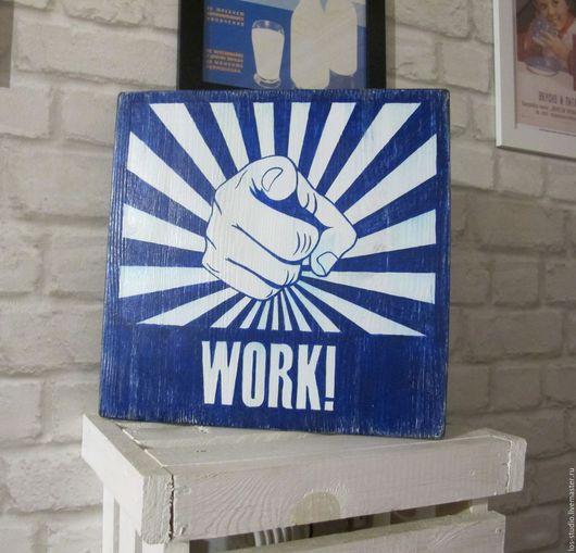 Интерьерные слова ручной работы. Ярмарка Мастеров - ручная работа. Купить Табличка деревянная с надписью. Handmade. Тёмно-синий, винтаж