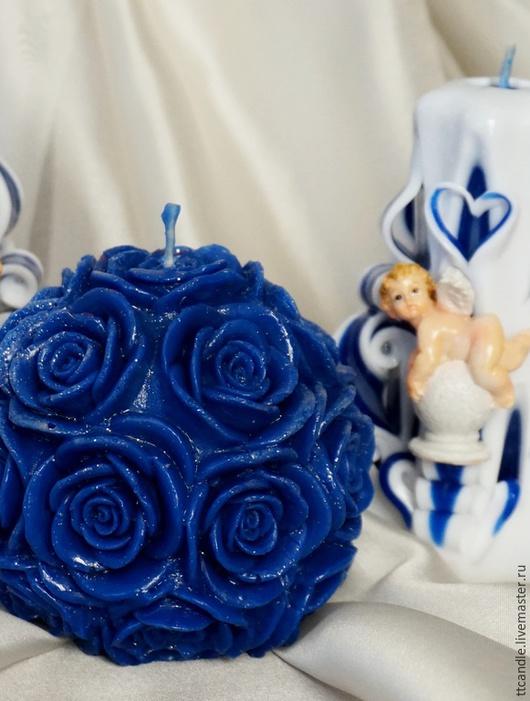 """Свечи ручной работы. Ярмарка Мастеров - ручная работа. Купить Свеча """"Роза"""". Handmade. Тёмно-синий, свечи на свадьбу, нежность"""