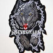"""Аппликации ручной работы. Ярмарка Мастеров - ручная работа Байкерская нашивка на спину """"Волк"""", Wolf patch moto. Handmade."""