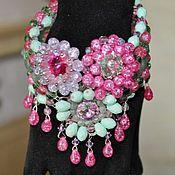 Украшения handmade. Livemaster - original item Bracelet with Swarovski crystals and jade tropikanka. Handmade.