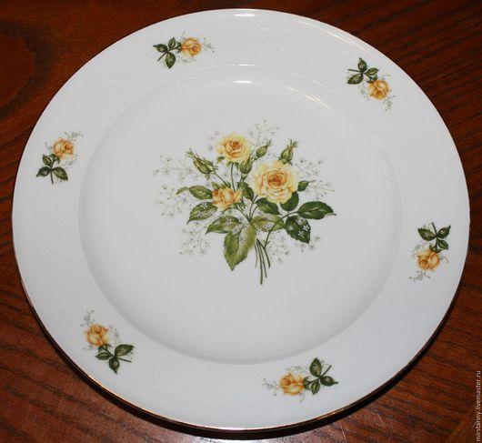 Винтажные предметы интерьера. Ярмарка Мастеров - ручная работа. Купить Красивая, старинная, тарелка с жёлтыми розами, Seltmann Weiden, Герм.. Handmade.