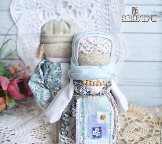 Народные куклы ручной работы. Ярмарка Мастеров - ручная работа. Купить Неразлучники Семейное счатье. Handmade. Голубой, неразлучники, хлопок