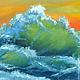"""Пейзаж ручной работы. Картина маслом """"Оранжевый закат"""". Красивые картины. Ольга.. Ярмарка Мастеров. Море живопись"""