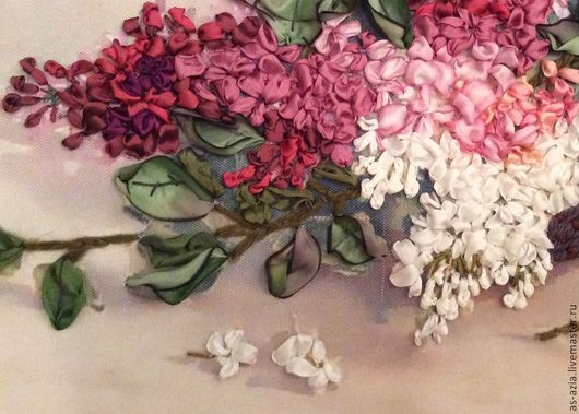 Картины цветов ручной работы. Ярмарка Мастеров - ручная работа. Купить Сирень. Handmade. Вышивка лентами, сирень, принт