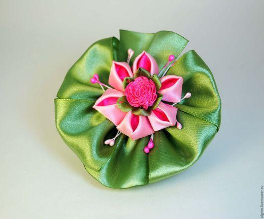 Детская бижутерия ручной работы. Ярмарка Мастеров - ручная работа. Купить Бантик ЦВЕТОК БАРБАРИСА. Handmade. Однотонный, зеленый, розовый