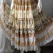 Одежда ручной работы. Ярмарка Мастеров - ручная работа Нежная, кремовая ,многоярусная, длинная юбка в стиле бохо. Handmade.