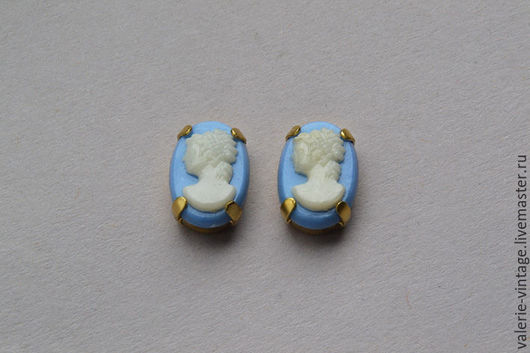 Для украшений ручной работы. Ярмарка Мастеров - ручная работа. Купить Винтажные камеи 14х10 мм цвет Вlue Сameo. Handmade.
