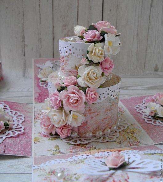 Свадебные открытки ручной работы. Ярмарка Мастеров - ручная работа. Купить В НАЛИЧИИ Коробочка magic box с тортом. Handmade.