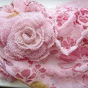 """Аксессуары ручной работы. Ярмарка Мастеров - ручная работа """"Весна"""" -шарф-снуд из шифона, кид-мохера и брошь-роза. Handmade."""