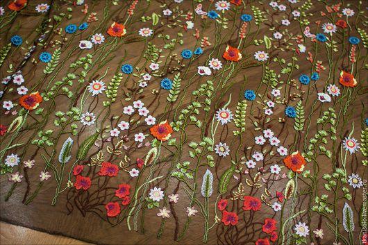 Шитье ручной работы. Ярмарка Мастеров - ручная работа. Купить Вышивка на сетке Valentino полевые цветы. Handmade. Валентино